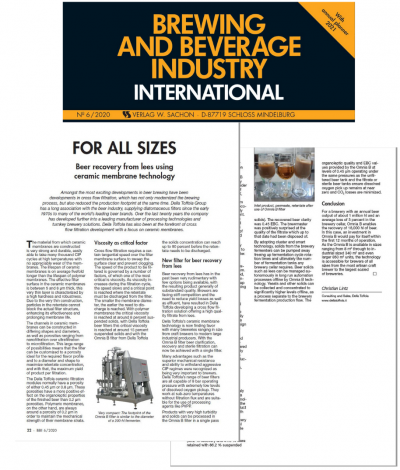 A new article on OMNIA B filters on Brewing and Beverage Industry International